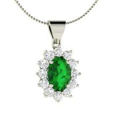 Oval-Cut Emerald  and VS Diamond Unique Necklace in 14k White Gold