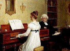 """The norm that young cultured women from the bourgeoisie played the piano spread across Europe in the nineteenth century. The painting """"The piano lesson"""" is from painted by the British artist Edmund Blair Leighton. Edward Robert Hughes, Dante Gabriel Rossetti, Piano Lessons, Music Lessons, Jane Austen, Motif Music, John Blake, John William Godward, Julie Manet"""