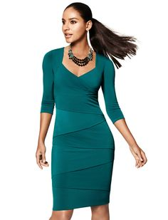 The Instantly Slimming Dress, now available in Fall's most coveted color:  Lotus!  #wearwhatworks #instantlyslimming #whbm