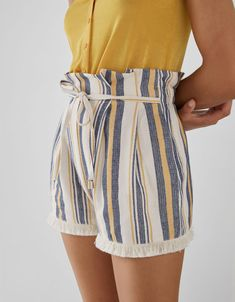 Discover this and many more items in Bershka with new products every week Striped Shorts, Short Dresses, Pattern, How To Wear, Outfits, Capri, Club, Sewing, Clothing