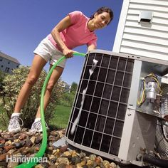 Clean Your Air Conditioner Condenser Unit - http://www.familyhandyman.com/heating-cooling/air-conditioner-repair/clean-your-air-conditioner-condenser-unit/step-by-step