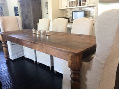 Classic Style Farmhouse Table with chunky style legs is brought to life using 100+ year old reclaimed barn wood to recreate the look of an antique table that has been passed down for many generations.