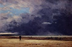 Paintings by Boudin | deauville low tide by Eugene Boudin small