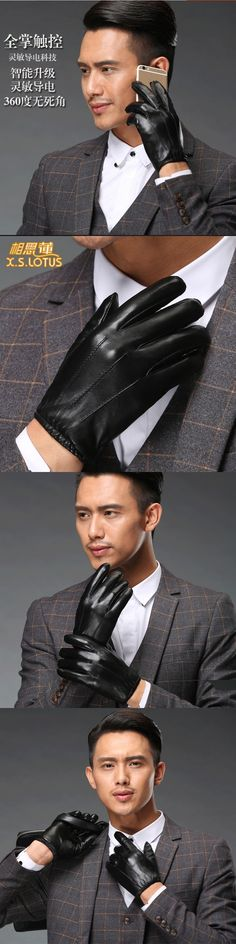2017 Men's black leather gloves in the fall and winter fashion design wind heat cycle short leather gloves sheepskin gloves, 113