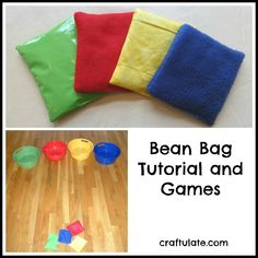 This bean bag tutorial takes you step by step through the simple sewing process. These bean bags are great for colour matching and games. Bean Bag Activities, Bean Bag Games, Gross Motor Activities, Gross Motor Skills, Work Activities, Indoor Activities, Educational Activities, Group Games For Kids, Indoor Games For Kids