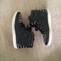 Sandro Sneakers 199% leather black sheathes with silver studding. Previously worn once but in like new condition! Comes with original box 😊 Sandro Shoes Sneakers