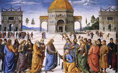 Renaissance 15de eeuw: Pietro Perugino, Christus geeft de sleutel aan Petrus, 1481-1482, Sixtijnse Kapel, Rome.