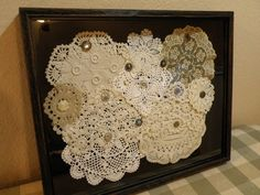 Vintage Doily Shadow Box - This would be great decor in a craft/sewing room, or vintage styled guest room! Framed Doilies, Lace Doilies, Button Art, Button Crafts, Shadow Box, Doily Art, Diy And Crafts, Arts And Crafts, Doilies Crafts