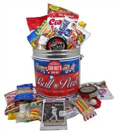This Can of Ball Park Treats is the perfect gift for any little slugger.  Approximately 59 delicious baseball themed treats packed in this can along with a pack of baseball cards.  $24.95 http://www.blaircandy.com/baseball-candy-gift-can.html