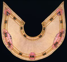 Collar, Jessie Newberry, silk-embroidered linen with beads and applique, ca.1900
