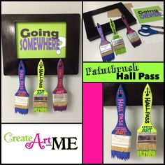 DIY Paintbrush Hall Pass - SUPER easy to make & was finished in about an hour (with drying time in the Texas heat!)