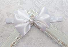 White Satin Bow with Rhinestone Center Girls by YourFinalTouch
