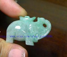 Free Shipping   Real jade Elephant   Natural green by jade2090, $19.99