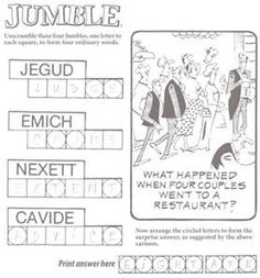 graphic regarding Printable Word Jumble named 8 Perfect Jumble Puzzles pics Crossword puzzles, Absolutely free