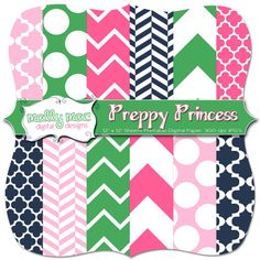 Preppy Princess Digital Paper Set Pack  12  12 x by Mally Mac and Me, $3.99  Cards, Save the Date , Weddings, Chevron & Quatrefoil