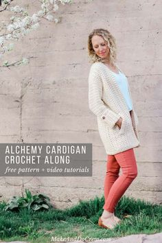 Join the Alchemy Cardigan Crochet Along to make this modern, lightweight spring sweater. Each week includes a free pattern and video tutorial featuring Lion Br Crochet Cardigan Pattern, Crochet Jacket, Crochet Scarves, Crochet Clothes, Crochet Sweaters, Crochet Dresses, Black Crochet Dress, Modern Crochet, Crochet Woman