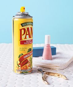 After you paint your nails, spray nails w/Pam then put in cold water for 30 seconds. It really works!