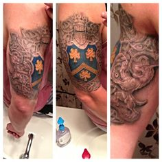 *update* completed family crest/celtic knot tattoo -- Cesar Romero at Lucky Kat Tattoo in Whiting, IN
