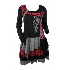 911b2ae7f6 Robe originale C fait pour vous, mélange noir, gris et rouge #cfaitpourvous  #