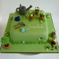 Birthday cake for a Father or Grandfather who loves to garden Garden Theme Cake, Garden Birthday Cake, Garden Cakes, 40th Cake, Dad Cake, Birthday Cakes For Men, 60 Birthday, Grandpa Birthday, Allotment Cake
