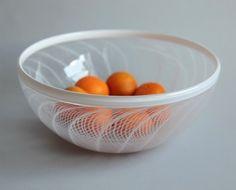 Gossamer Bowl Large Hand Blown Glass Bowl by corporanglass on Etsy, $360.00