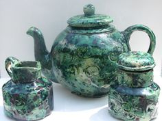 Fairy Green Tea set by Afromationpottery on Etsy   once again id love to have but scared id break it