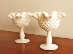 Fenton milk glass pedestal bowls
