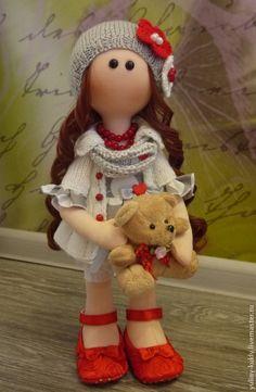Купить Текстильная куколка ручной работы Беатрис - серый, кукла ручной работы, текстильная кукла ☆