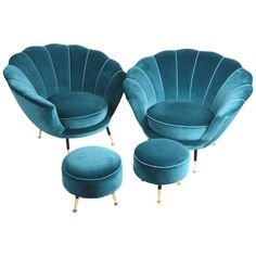 Pair of Easy Chairs with Stools, Italian, 1950s, in the Style of Ico Parisi 1stdibs.com