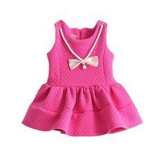 $24.80 (Buy here: https://alitems.com/g/1e8d114494ebda23ff8b16525dc3e8/?i=5&ulp=https%3A%2F%2Fwww.aliexpress.com%2Fitem%2FRetail-spring-and-summer-2015-New-Arrivals-Big-red-dress-cute-girls-European-kids-dress-Sleeve%2F32278703083.html ) Girls Dresses sping Autumn Sleeveless pearl Princess Dress Newborn Baby Girl Clothes Kids Clothes Baby Girls Clothing for just $24.80