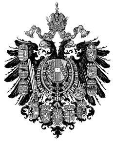 Empire of Austria-Hungary, Austrian medium coat of arms, Hugo Gerhard Ströhl. Holy Roman Empire, Coat Of Arms, Lorraine, Hungary, Austria, Coins, Symbols, Medium, House