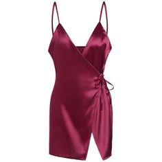 Mini Cami Satin Wrap Dress ($15) ❤ liked on Polyvore featuring dresses, mini cami, satin cocktail dress, purple dress, purple cami and purple camisole