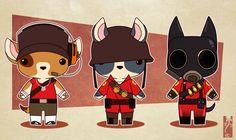 Team Fortress chibi anthros - Offensive classes by Zarnala.deviantart.com on @deviantART