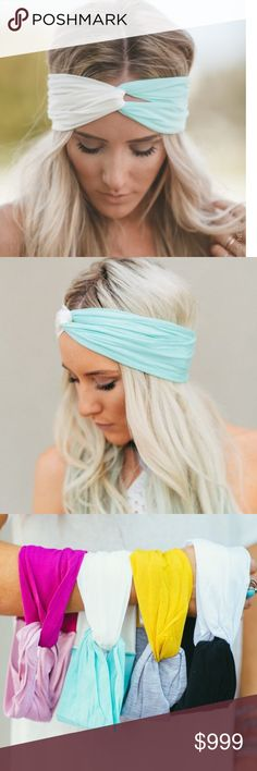 Coming soon! Mint & Ivory Turband Headband Original two-toned Turband from Three Bird Nest!  Super soft!  Very versatile!  Wear spread wide for working out or running, overlap for a narrow fit, also perfect for face washing. Say goodbye to bad hair days! Three Bird Nest Accessories Hair Accessories