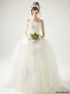 keita maruyama wedding gowns | keita maruyama japan 2014 strapless ball gown wedding dress