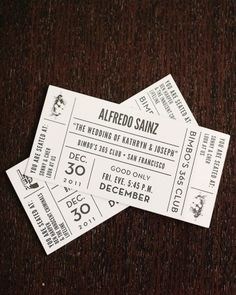 At this theater-themed wedding vintage tickets doubled as escort cards