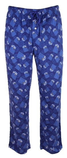 Doctor Who: TARDIS All Over Lounge Pants  Don't go to sleep without wearing these Doctor Who Pajama Pants. They are stylish and comfy. Not to mention timey-wimey. If the Doctor wore pajamas, these would be the ones he would choose. 100% Cotton.