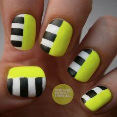Uñas decoradas: amarillo neon - Uñas Pasión