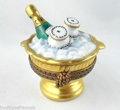 LIMOGES BOX - CHAMPAGNE ON ICE & GLASSES - GOLD BUCKET