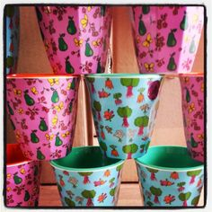 Funky new melamine cups with pear and rhubarb prints @Rice Denmark