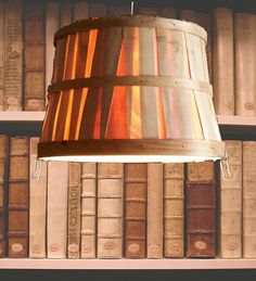 Wood Apple Basket Light Fixture, Hanging Light, Drum Shade, Basket Light Shade, farmhouse chic, repurposed lighting