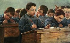"""""""In the Classroom"""" 1886. Paul Louis Martin des Amoignes (1850-1925). French painter. #aula"""