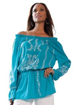 71707730d07 Jessica London Plus Size Embroidered Peasant Blouse Deep Turquoise