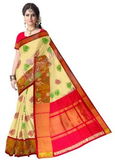 ikat paitani border  cream color saree