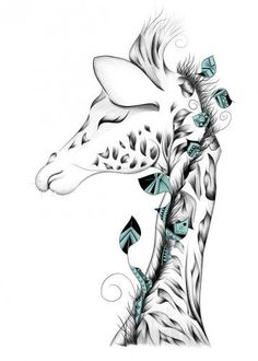 Drawing Doodles Ideas Giraffe - See amazing artworks of Displate artists printed on metal. Easy mounting, no power tools needed. Body Art Tattoos, Tattoo Drawings, Art Drawings, Drawing Sketches, Giraffe Tattoos, Baby Giraffe Tattoo, Giraffe Art, Cute Giraffe Drawing, Animal Tattoos