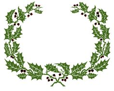 Vintage Clip Art – Holly Wreath Graphic Frame