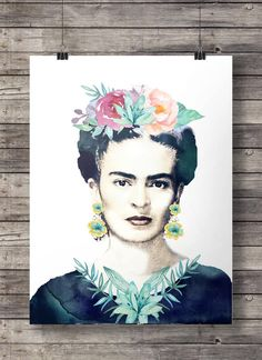 Frida kahlo watercolor flowers printable  Although I wish they kept her facial hair, she would have wanted that