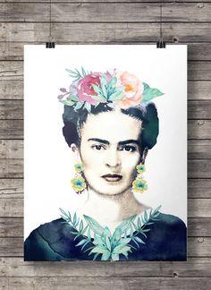Frida kahlo watercolor flowers printable