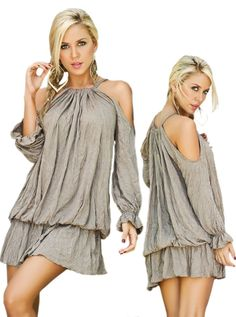 Desert Tan Long Sleeve Open Shoulder Drape Dress - Small