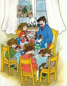 Lotta's Christmas Surprise by Astrid Lindgren Lotta Astrid Lindgren, Christmas Illustration, Children's Book Illustration, Contemporary Barn, Pippi Longstocking, Easy Canvas Painting, Woodland Decor, Retro Christmas, Childrens Books